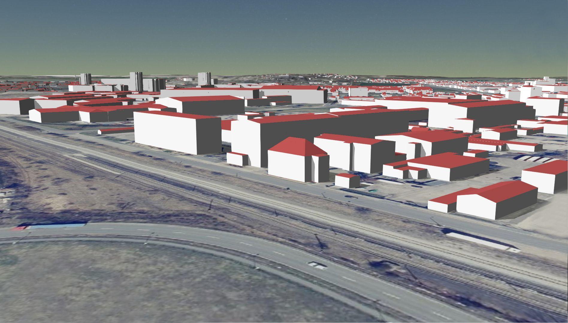 Der Hauptsitz des TLBG als LoD2-Gebäudemodelle mit Geländemodell und Orthophoto kombiniert