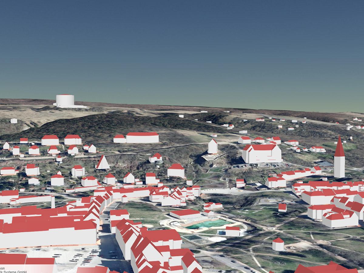 Blick über Bad Frankenhausen mit Panorama-Museum als LoD2-Gebäudemodell (kombiniert mit Geländemodell und Orthophotos)