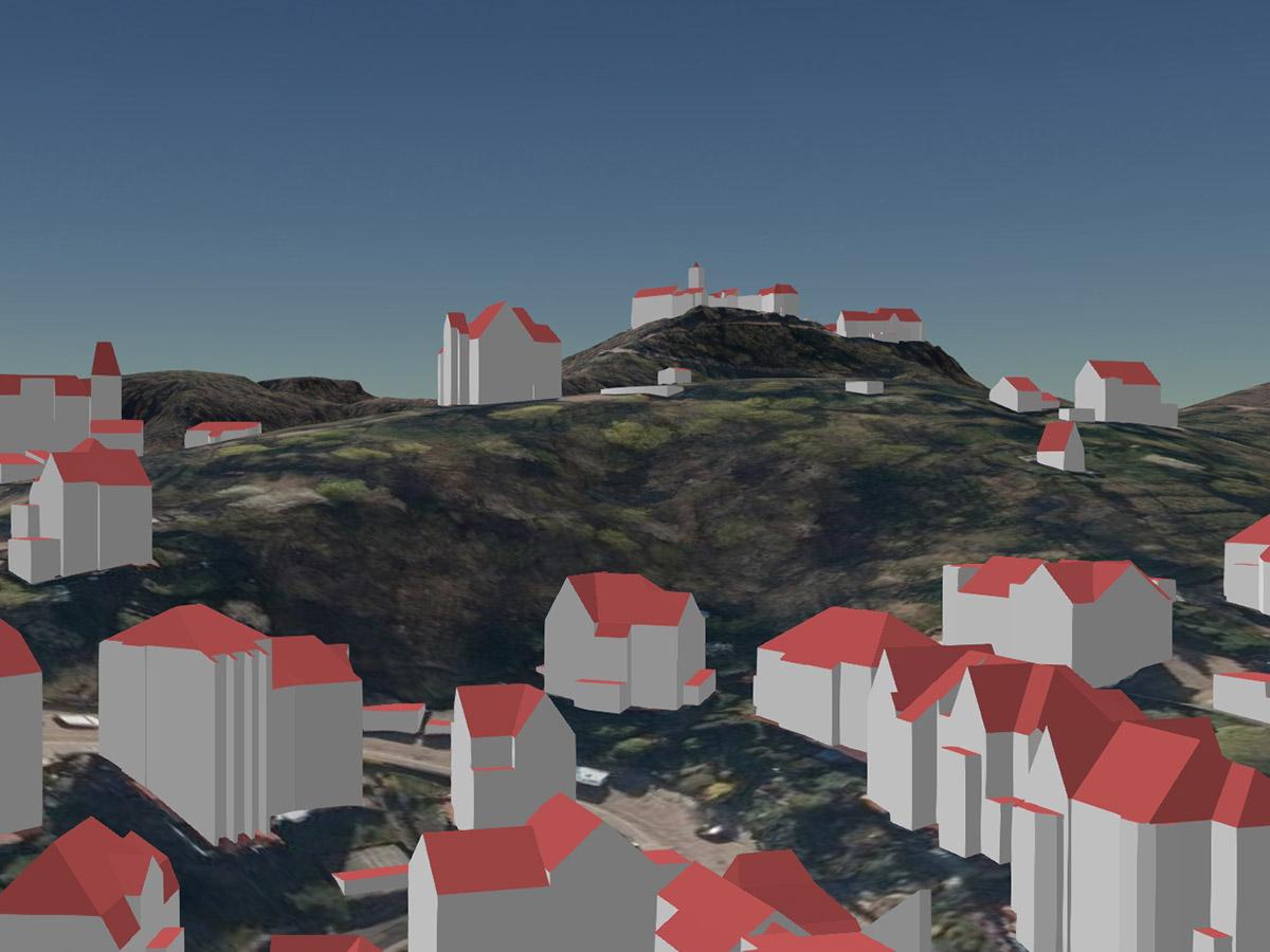 Blick von Eisenach auf die Wartburg als LoD2-Gebäudemodell (kombiniert mit Geländemodell und Orthophotos)