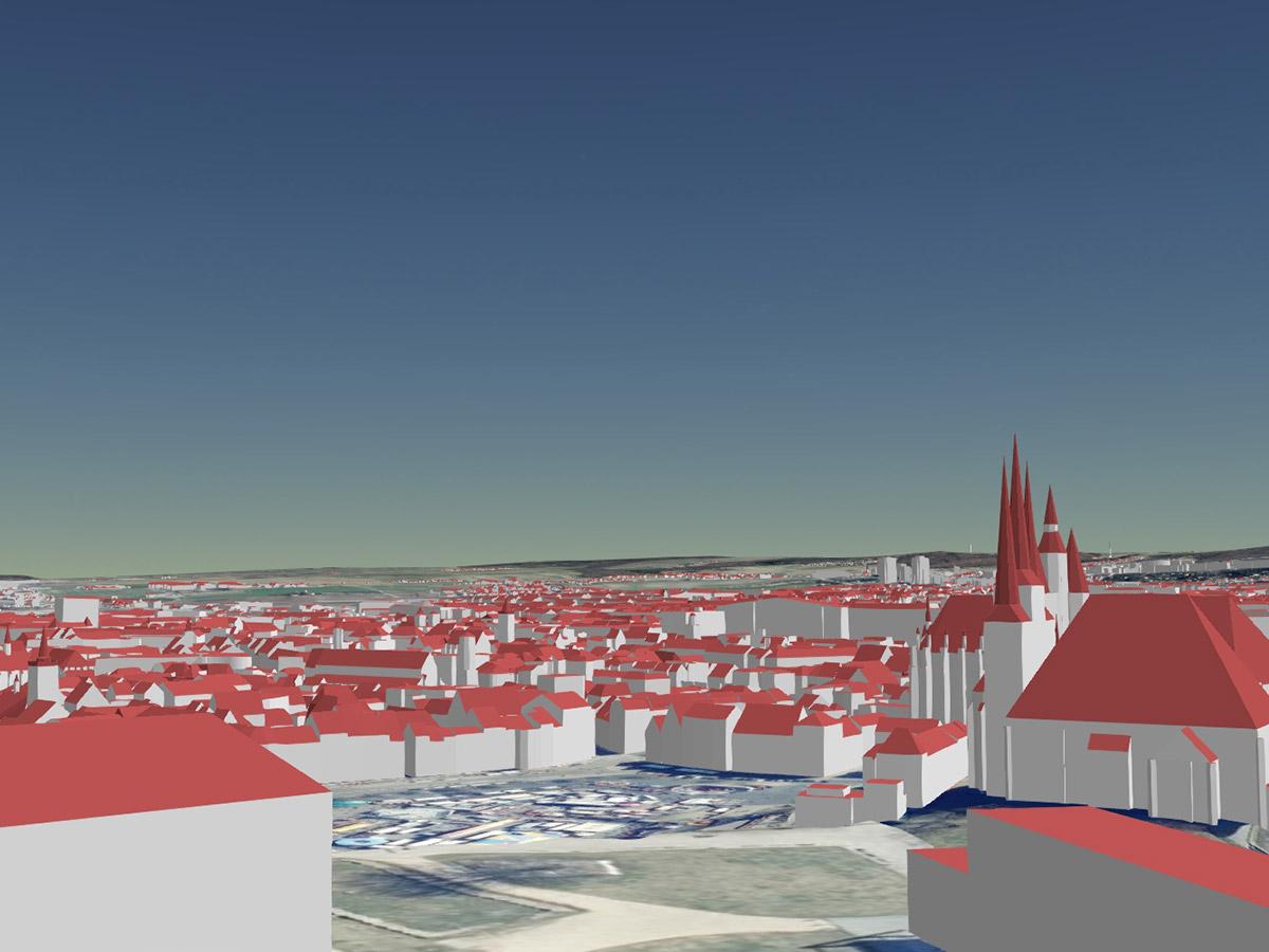 Blick über die Erfurter Altstadt vom Petersberg Richtung Osten als LoD2-Gebäudemodell (kombiniert mit Geländemodell und Orthophotos)