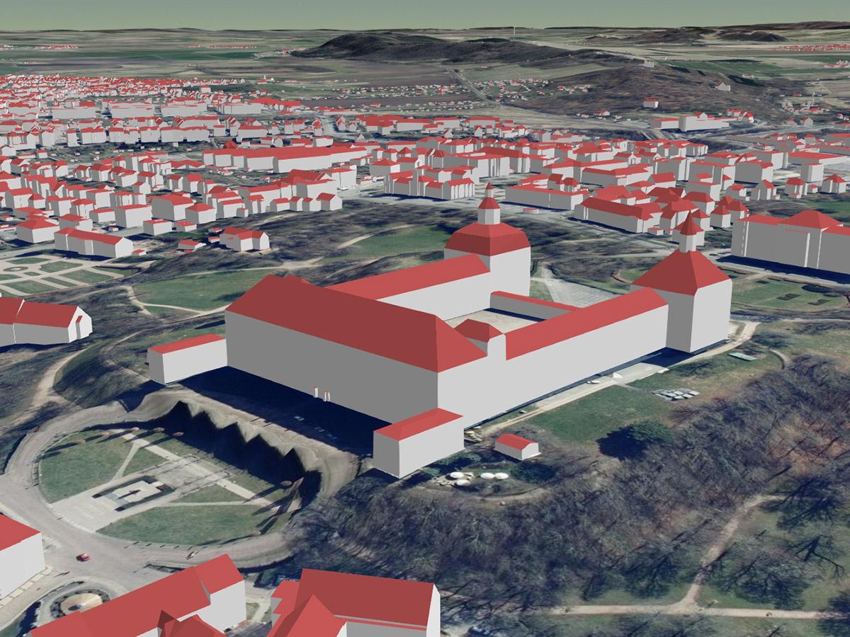Schloss Friedenstein in Gotha als LoD2-Gebäudemodell (kombiniert mit Geländemodell und Orthophotos)