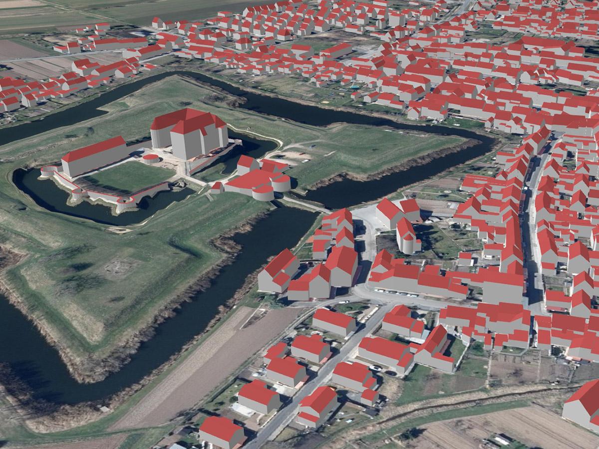 Wasserburg und Ort Heldrungen als LoD2-Gebäudemodell (kombiniert mit Geländemodell und Orthophotos)