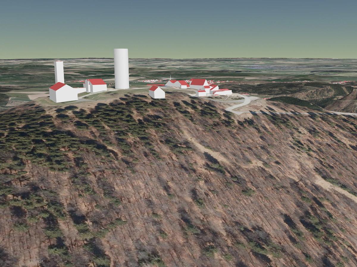 Gebäude auf dem Großen Inselsberg als LoD2-Gebäudemodell (kombiniert mit Geländemodell und Orthophotos)