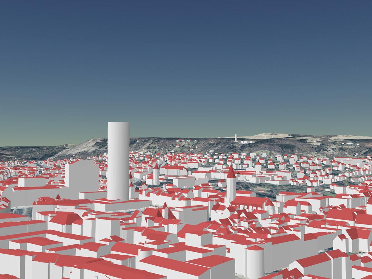 Jenaer Innenstadt als LoD2-Gebäudemodell (kombiniert mit Geländemodell und Orthophotos)