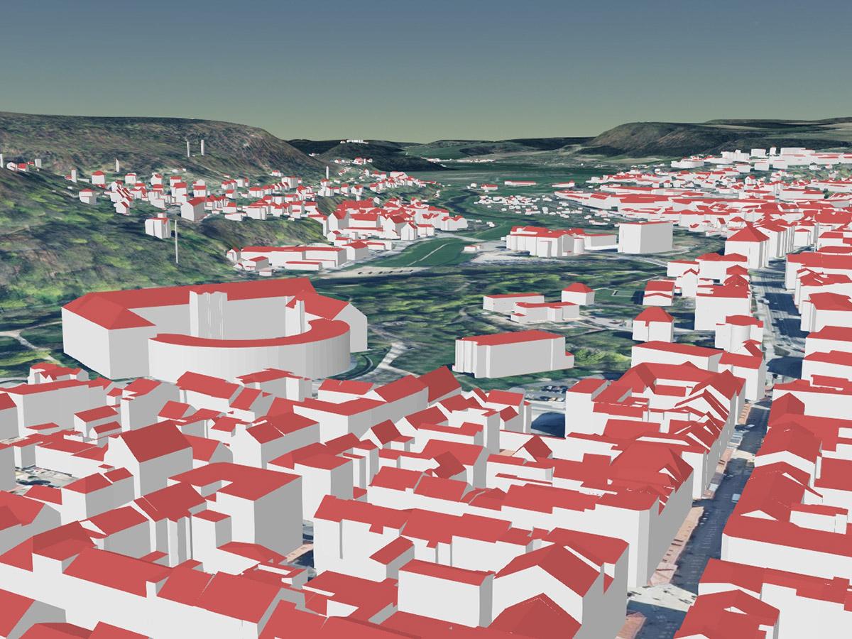 Schloss Elisabethenburg und Teil der Stadt Meiningen als LoD2-Gebäudemodell (kombiniert mit Geländemodell und Orthophotos)