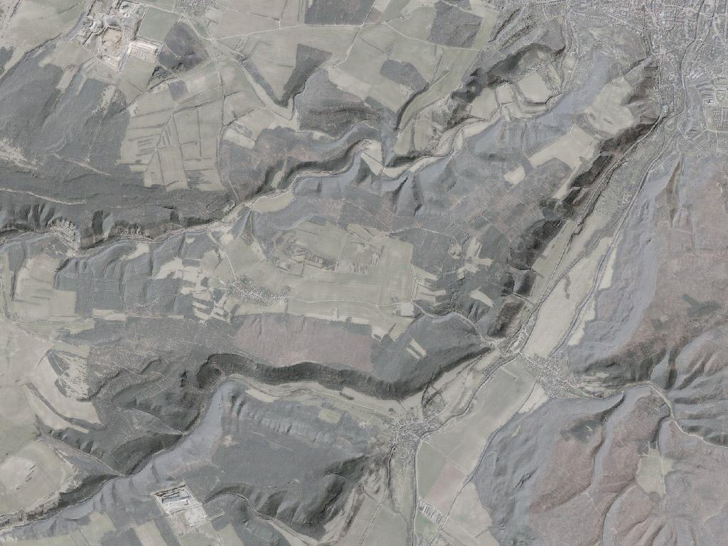 Digitales Geländemodell bei Arnstadt mit hinterlegtem digitalen Orthophoto