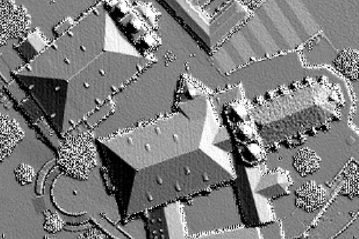 Digitales Oberflächenmodell von Dom und Severikirche Erfurt – Draufsicht