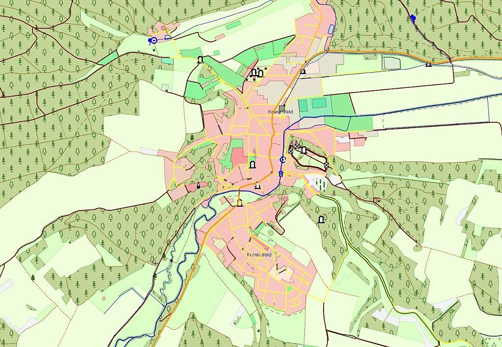 Ausschnitt aus dem digitalen Landschaftsmodell von Kranichfeld