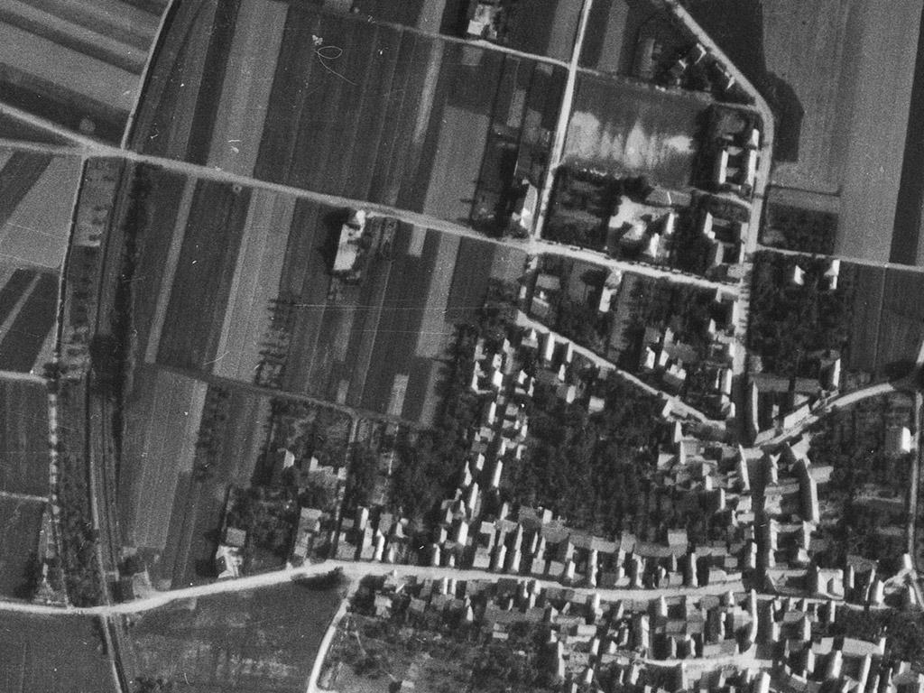 Historisches Luftbild von Birkungen 1953