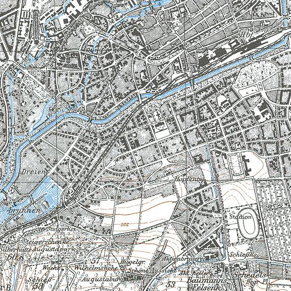 Kartenausschnitt des Kartenblattes 5032 (1.25 000) von Erfurt aus dem Jahr 1905 | Neuauflage mit Ergänzungen von 1936