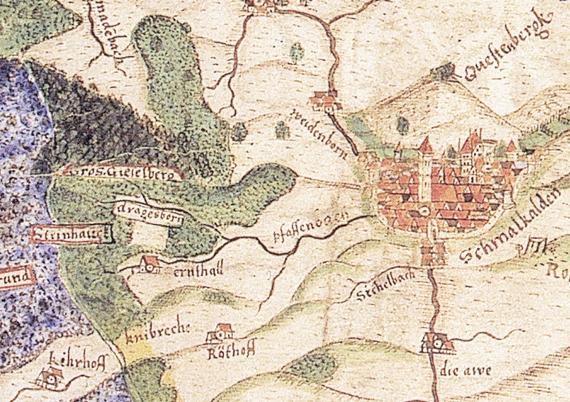Ausschnitt der Karte von Schmalkalden von Joist Moers aus dem Jahr 1589