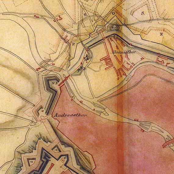 Kartenausschnitt mit den Festungsanlagen von Erfurt, 1813 (und von Napoleon geplante Erweiterungen)