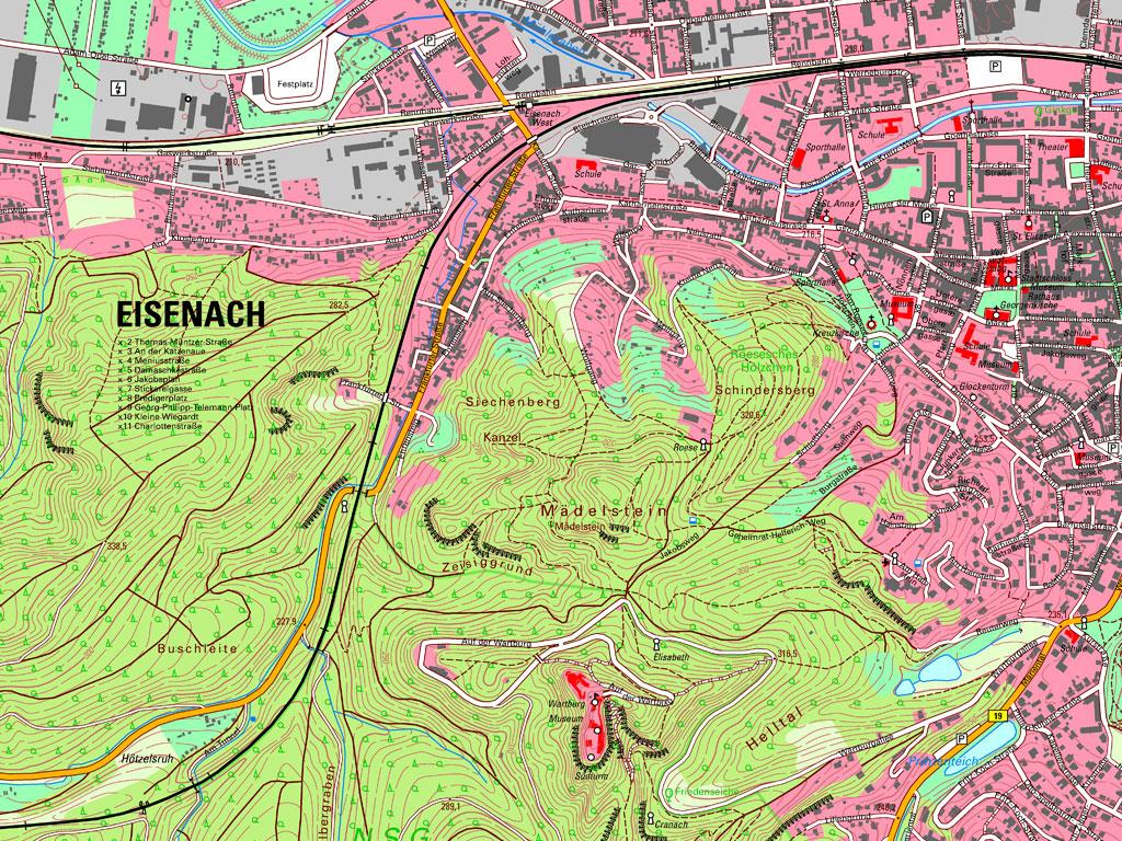 Kartenausschnitt TK10 Eisenach