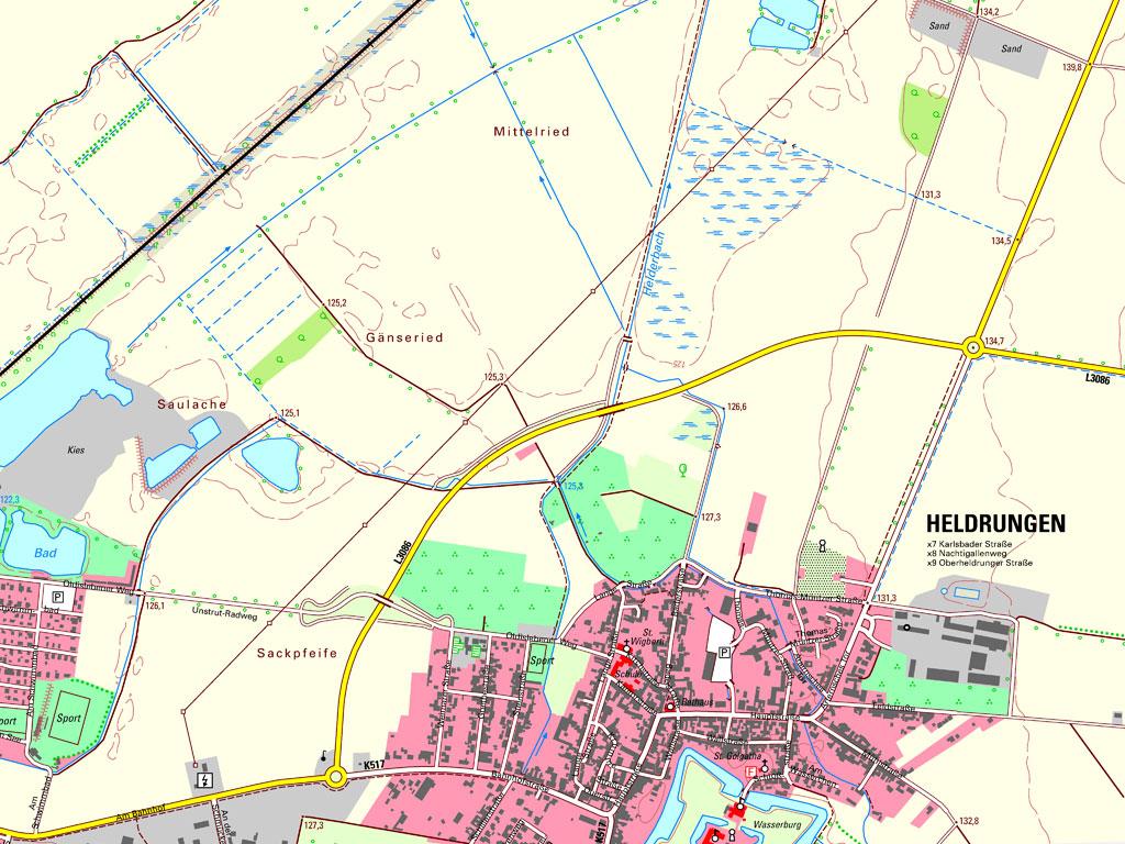 Kartenausschnitt aus der TK10 4633-SW Heldrungen von 2020