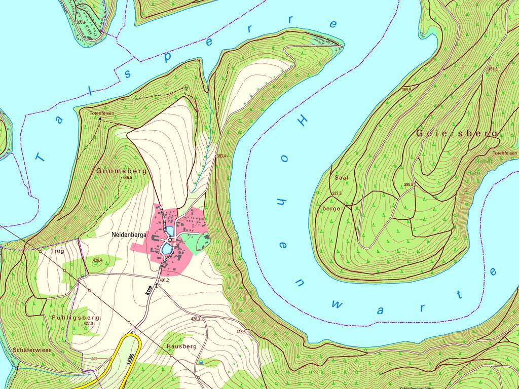 Kartenausschnitt aus der TK10 – Kartenblatt 5335-SW Wilhelmsdorf mit Hohenwarte-Stausee von 2019