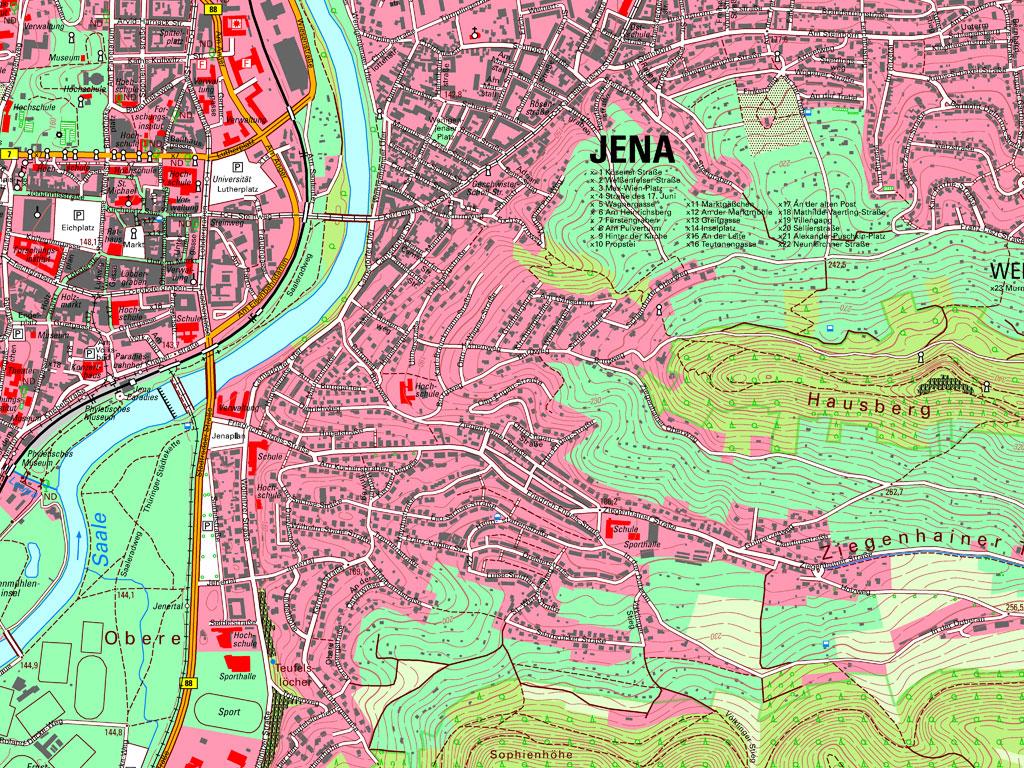 Kartenausschnitt aus der TK10 – Kartenblatt 5035-SO Jena von 2020