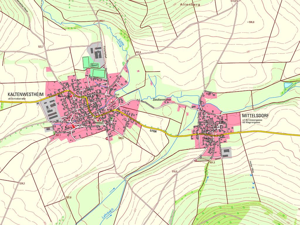 Kartenausschnitt aus der TK10 – Kartenblatt 5326-SO Kaltennordheim von 2019
