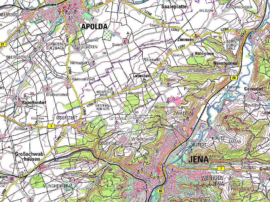 Ausschnitt aus der TK100 Jena Kartenblattnummer C5134