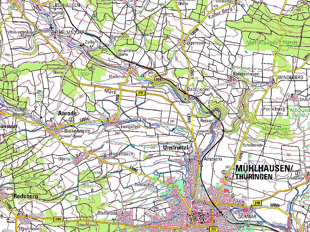 Ausschnitt aus der TK100 Mühlhausen Kartenblattnummer C4726
