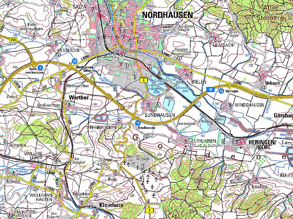 Ausschnitt aus der TK100 Nordhausen Kartenblattnummer C4730