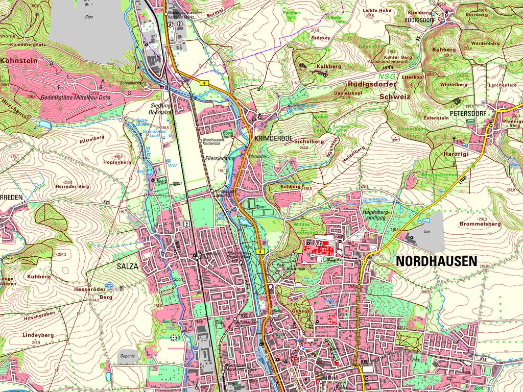 Kartenausschnitt aus der TK25 – Kartenblatt 4430 Nordhausen N von 2019