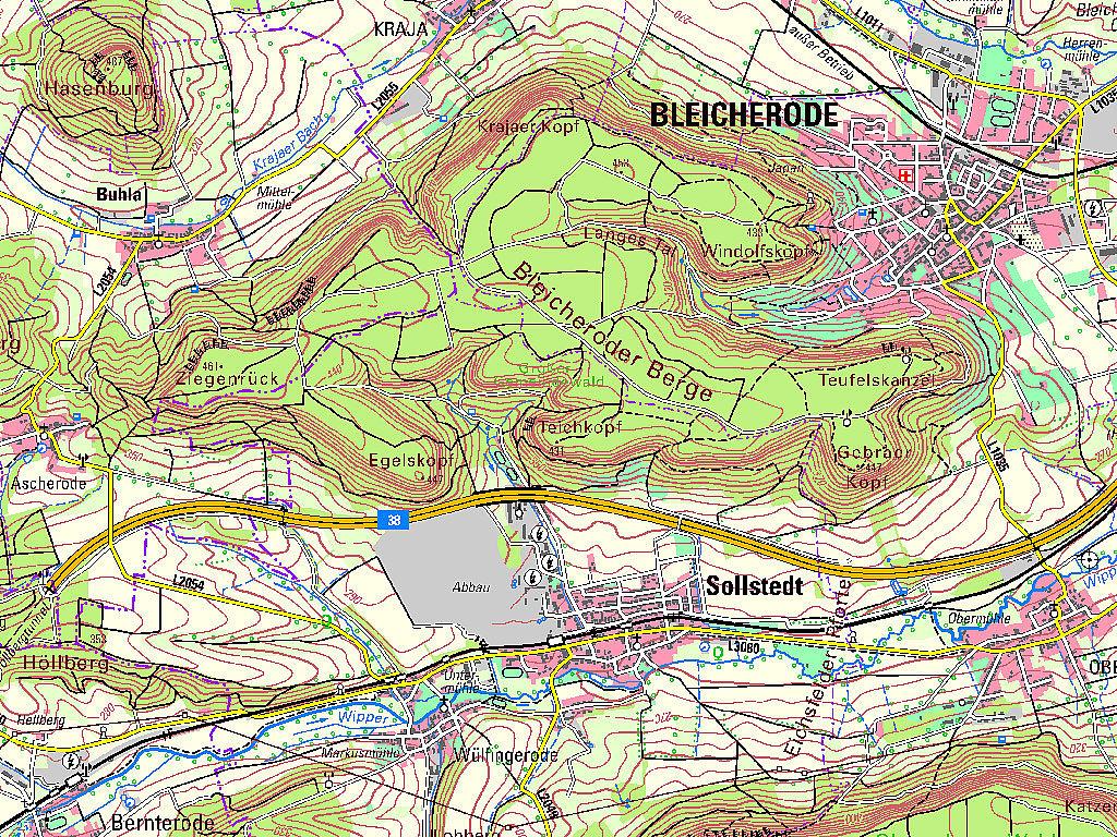 Kartenausschnitt aus der TK50 – Kartenblatt L4528 Bad Sachsa von 2019