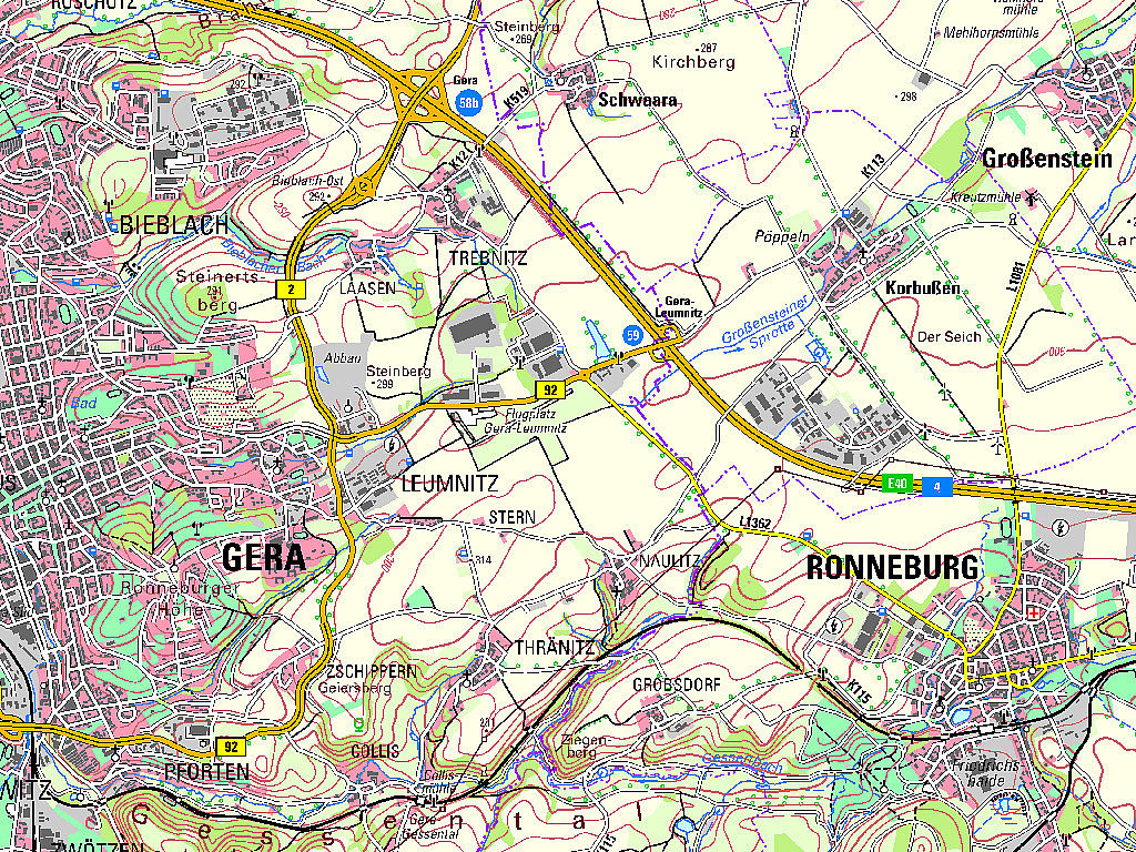 TK50 Kartenausschnitt Gera Ronneburg