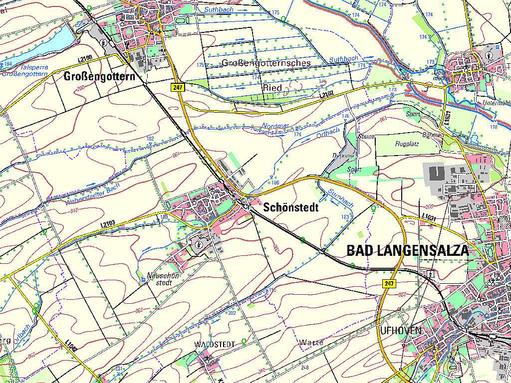 Kartenausschnitt aus der TK50 – Kartenblatt L4928 Bad Langensalza von 2017