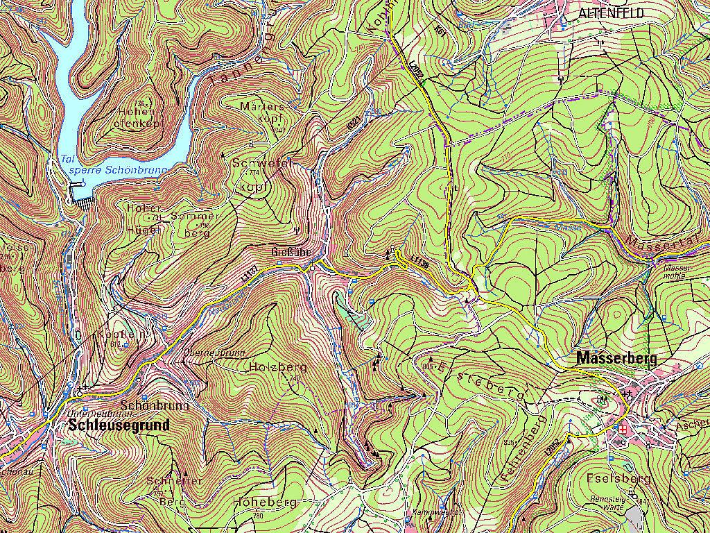 Kartenausschnitt aus der TK50 – Kartenblatt L5530 Hildburghausen von 2019