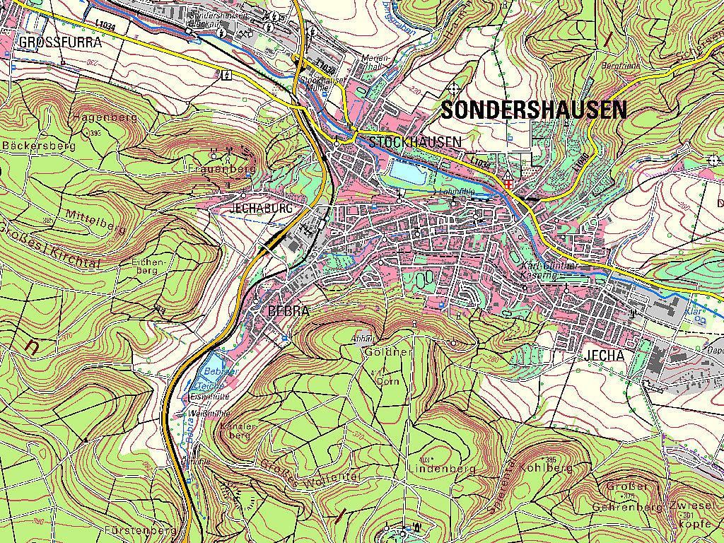 Kartenausschnitt aus der TK50 – Kartenblatt L470 Sondershausen von 2020