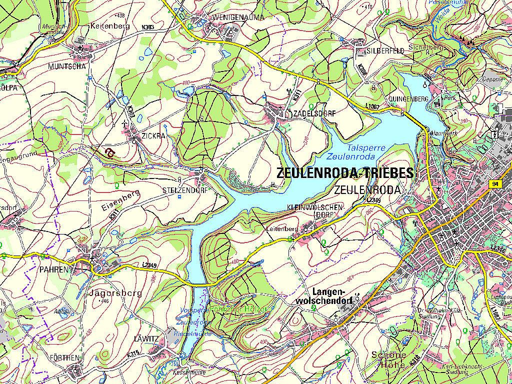 Kartenausschnitt aus der TK50 – Kartenblatt L5536 Zeulenroda von 2020