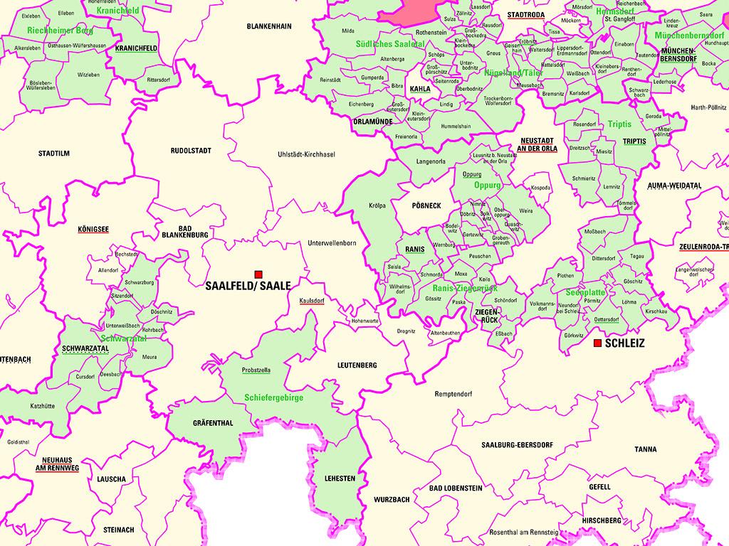 Kartenausschnitt aus der Gemeindegrenzenkarte 1:250 000