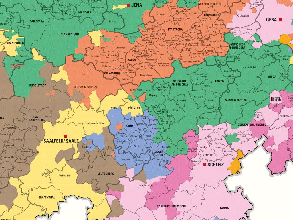 Kartenausschnitt aus der Sonderkarte zum Thema 100 Jahre Thüringen