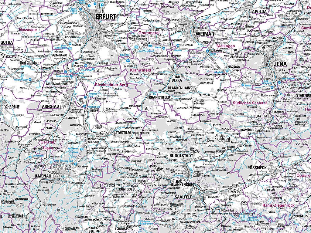 Kartenausschnitt aus der Übersichtskarte 1:250 000 Verwaltungsausgabe