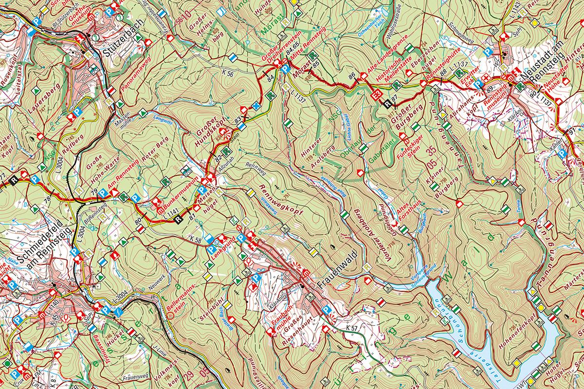 Ausschnitt aus der Rennsteig-Wanderkarte (3. Kartenblatt) bei Frauenwald von 2014