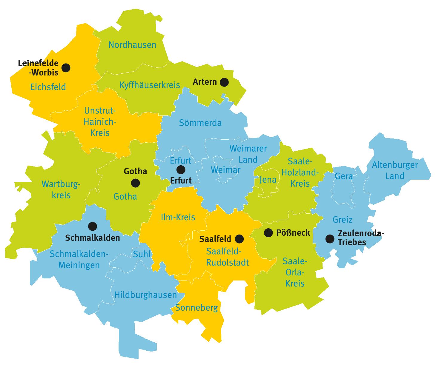 Karte der acht Katasterbereiche des TLBG und ihrer Zuständigkeitsbereiche