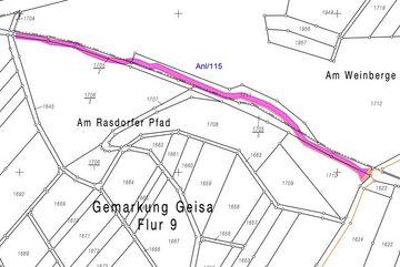 Kartenausschnitt der Gemarkung Geisa – Flur 9