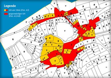 Ungetrennter Hofraum in Ebertshausen 1866 (gelb) und zu Beginn der Flurbereinigung (rot)