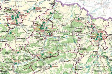 Kartenausschnitt aus der Übersichtskarte 1:250 000 Parks und Gärten in Thüringen