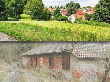 Entsiegelungsmaßnahme Abriss eines Agrarobjektes – vorher (unten) und nachher (oben) | Foto: ThLG mbH