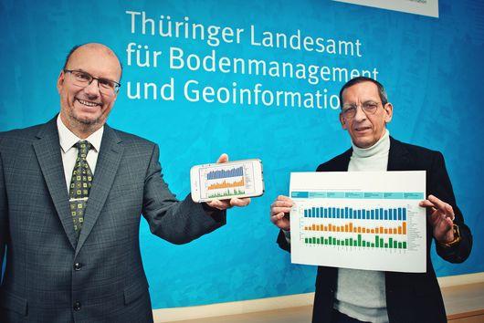 Präsident Uwe Köhler präsentiert die Grundstücksmarktinformationen auf seinem Smartphone, Kollege Thomas Roos die gleiche Visualisierung als Ausdruck