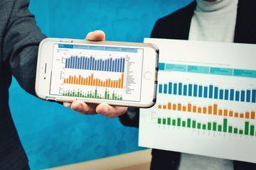 Detailaufnahme: Online-Grundstücksmarktinformationen auf Smartphone