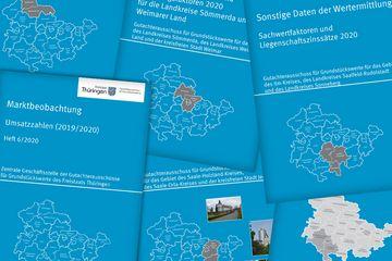 Cover verschiedener Berichte zum Grundstücksmarkt in Thüringen