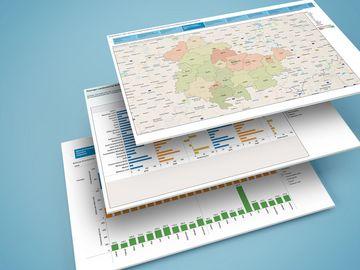 Mehrere Ansichten aus den online bereitgestellten Berichten zum Thüringer Grundstücksmarkt