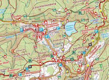 Ausschnitt aus Rennsteig-Wanderkarte bei Scheibe-Alsbach