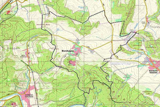 Kartenausschnitt mit Verortung des Flurbereinigungsgebiets Bornhagen