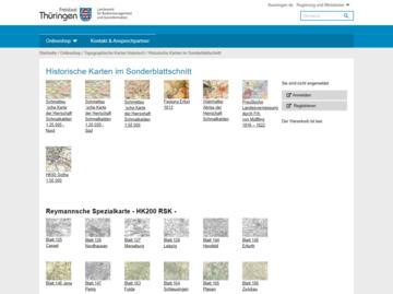 Auswahlansicht für historische Karten im TLBG Online-Shop