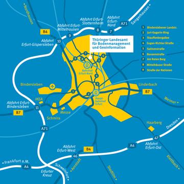 Der Hauptsitz des TLBG, Darstellung im Stadtgebiet Erfurt