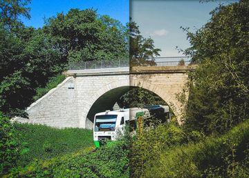 Fotomontage: Eisenbahnbrücke saniert und unsaniert