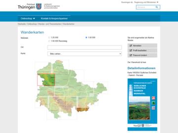 Auswahlansicht für Wanderkarten im TLBG Online-Shop